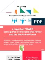 Power in Organization and Management specifically, interpersonal and structural power