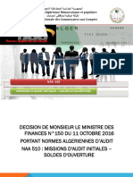 Norme Algérienne d'Audit 510 Audit Initial Sold d'Ouverture