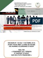 Norme Algérienne d'Audit 700 FOND D'OPINION ET RAPPORT D'AUDIT