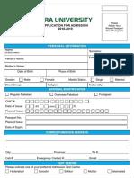Admission Form 2018 2019