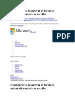 Configurar o Desactivar El Formato Automático Mientras Escribe