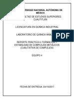 FORMACIÓN Y ESTABILIDAD DE COMPLEJOS METÁLICOS (CUALITATIVA DE COMPLEJOS)