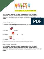Homework Del 21 Al 25 de Octubre 2019