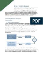 les modèles d'analyse stratégique