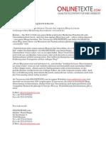 www.onlinetexte.com - Pressemeldung KW 46 - Blog Als Marketing Instrument