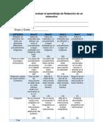 Rúbrica Para Evaluar El Aprendizaje de Redacción de Un Instructivo