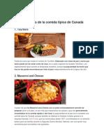 Platos Propios de La Comida Típica de Canadá