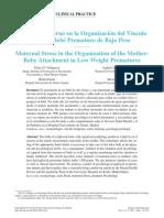 El Estrés Materno en La Organización Del Vínculo Madre-bebé Prematuro de Bajo Peso