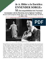 Respuesta de Hitler a S.S. Pío XI