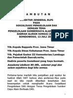 Sambutan Dirjen Lok Bondowoso 13 Juli 10