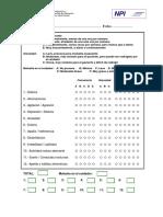 INVENTARIO Neuropsiquiàtrico CUMMINGS Cuadernillo de Preguntas