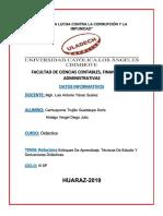 Relacion de Enfoque de Aprendizaje y Derivaciones Didacticas