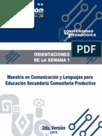 Orientaciones Semana 1 Maestria en Comunicaciòn y Lenguaje