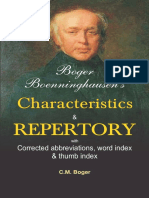 Boger Boenninghausen s Characteristics Repertory Contents Reading Excerpt