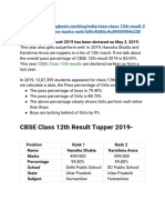 CBSE Class 12th Result 2019 Topper List- Name, Marks, Rank