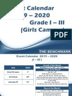 Event Calander Girls Section for Grade I III 2019 20