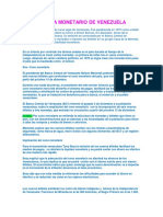 Sistema Monetario de Venezuela y Taller de Biologia