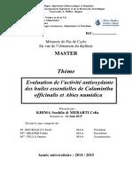 Evaluation de l'Activité Antioxydante Des Huiles Essentielles de Calamintha Officinalis Et Abies Numidica