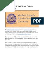MP Board 12th Hall Ticket Details- Mpbse