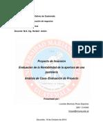 Caso de Estudio Evaluacion de Proyectos Apertura Pasteleria