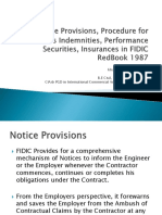 Presentation on Indemnities, Performance Securities, Retention Money & Insurances in FIDIC Red Book 1987