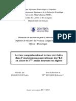 Lecture Compréhension Et Lecture Récréative Dans l'Enseignementapprentissage Du FLE en Classe de 3em Année en Algérie