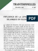 Influence de La Civilisation Musulmane en Occident - ET 1950