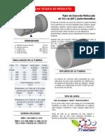 Tubo de Concreto de 60 Pulgadas Con Acero de Refuerzo y Liga Para Junta Hermética Norma Nmx-c-402-Onncce-201