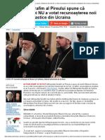 Mitropolitul Serafim Al Pireului Spune Că Biserica Greciei NU a Votat Recunoașterea Noii Structuri Ecleziastice Din Ucraina _ ActiveNews