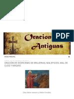 Oraciones Antiguas_ Oración de Exorcismo de Brujerias, Maleficios, Mal de Ojos y Magias