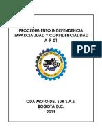 A-P-01 Procedimiento Independencia Imparcialidad y Confidencialidad V0