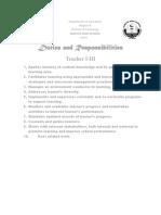 Duties and Responsibilities- Sbm
