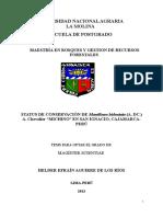 "STATUS DE CONSERVACIÓN DE Manilkara bidentata (A. DC.) A. Chevalier ""MICHINO"" EN SAN IGNACIO, CAJAMARCA-PERÚ"