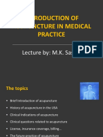 Introduction of Acupuncture in Medical Practice