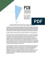 CONVOCATORIA POR POLÍTICAS CULTURALES NACIONALES