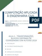 Aula 4 – Transformações, Blocos e Sistemas de Coordenadas Com Autocad 2019