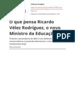 o Que Pensa Ricardo Velez Rodriguez o Novo Ministro Da Educacaopdf
