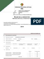 SILABO Metodologia de La Investigacion Abril-Agosto 2019 (1)