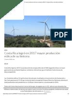 Costa Rica Logró en 2017 Mayor Producción Eólica de Su Historia _ REVE – Revista Eólica y Del Vehículo Eléctrico