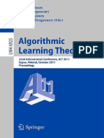 Algorithmic Learning Theory [Lecture Notes in Artificial Intelligence] [LNCS 6925 LNAI] (Springer, 2011)