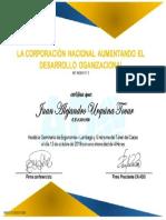 Certificado Seminario de Ergonomia - Lumbago y Sindrome Del Tunel Del Carpo 2019 - De JUAN ALEJANDRO URQUINA TOVAR