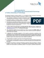 Study IT in Estonia Scholarship PhD 2019-2020
