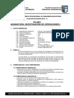 Sílabo de Investigación de Operaciones I 2018 II