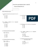 Examen de periodo  Matemáticas 1° periodo