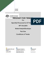 Part 1 - Conditions of Tender - RFT 013-2010 Siebel Analyst-Developer