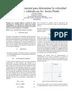 Método experimental para determinar la velocidad  media de vehículo en Av. Javier Prado