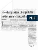 Manila Bulletin, Oct. 21, 2019, Bill declaring Antipolo City capital og Rizal province approved on second reading.pdf