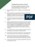 Ten Commandments for Senior Citizens