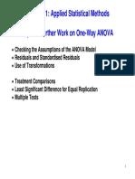 Topic 4 - Further Work on One-Way ANOVA