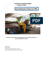 A report on site HM installation and guidelines of running small hydro power.